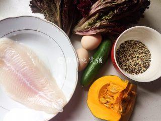 香煎巴沙鱼南瓜藜麦沙拉,食材。
