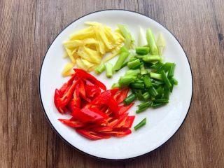 芦笋炒鱿鱼,红辣椒去掉里面的籽,清洗干净切块,生姜去皮洗净切姜丝,葱洗净切葱段。