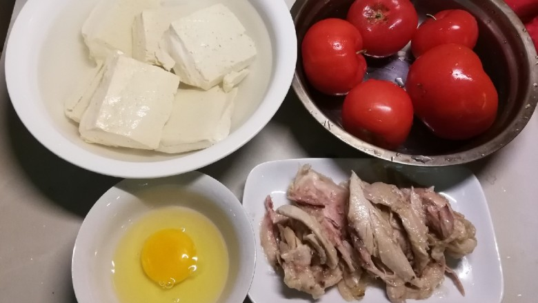 番茄鸡蓉烩豆腐,食材准备