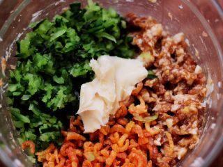 黄瓜海米饺子,把腌制好的黄瓜纳干水分,放入搅拌好的肉馅里,放入浸泡好的海米,加入猪油。