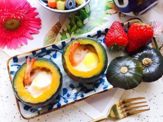鹌鹑蛋鲜虾贝贝小南瓜盅,成品图