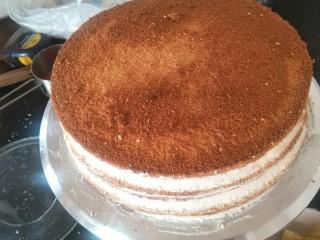 贺寿双层蛋糕(10+6寸),一层层起来后。先把表面抹均匀封胚后