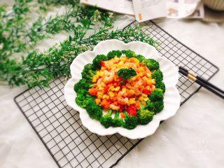 胡萝卜玉米炒虾仁,成品图