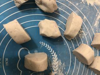 土豆紫薯饼,搓长后分成差不多大小的小剂子。