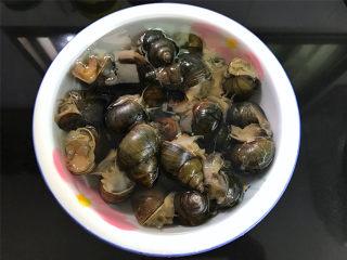 香辣田螺塞肉,买回来的田螺清洗干净,清水中加点食用油,静养半天。