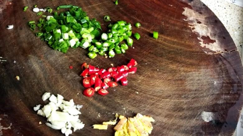 香卤鸡爪,姜、蒜拍碎,青椒、红辣椒、葱花切末