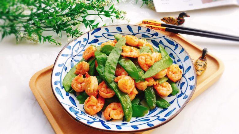 荷兰豆炒虾仁,成品图