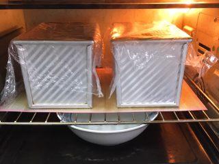 葡萄吐司面包,送入烤箱两次发酵,也是60分钟,发酵至九分满,盖上盖子。