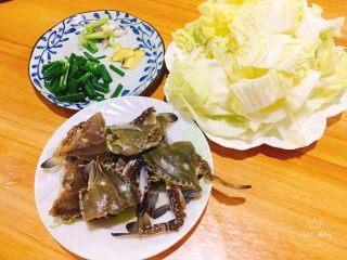 螃蟹白菜汤,食材准备妥妥的