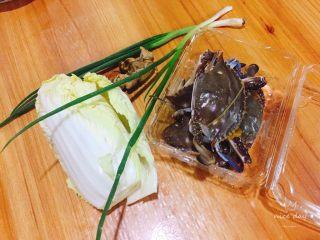 螃蟹白菜汤,食材准备好