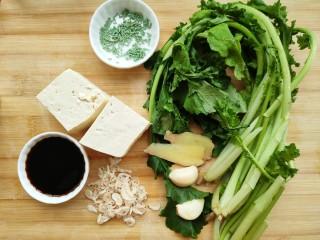苔菜豆腐虾皮鲜汤,准备好所有食材