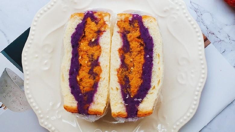 紫薯肉松三明治,成品图。