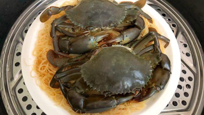 粉丝蒸青蟹,蒸锅放入适量水烧开,放入蒸屉,再把盘子放到蒸屉上,大火蒸10分钟。