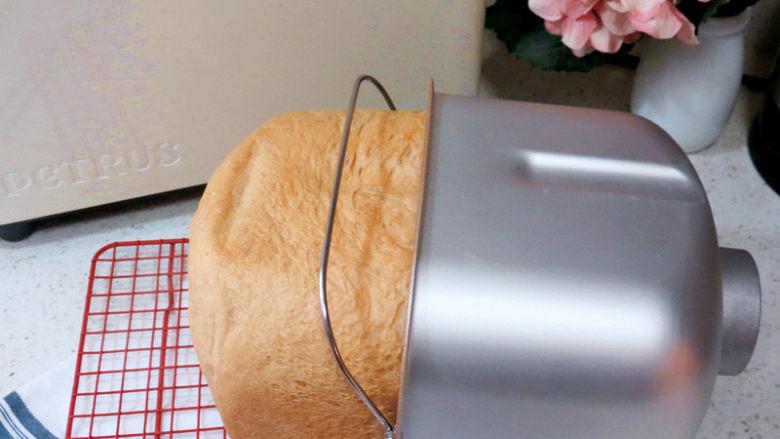全麦红糖吐司(一键式)+金枪鱼芹菜三明治,带上手套把面包桶取出,面包倒出