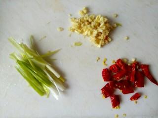 香辣凉拌三丝,葱切丝,蒜切沫,干红辣椒切小段