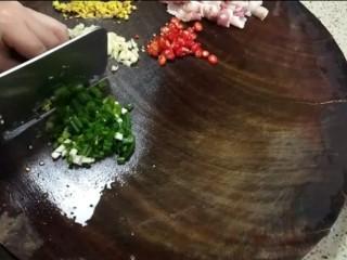 红烧茄子,红辣椒切末,大蒜切末,姜切末,葱花切末