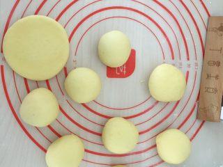 南瓜发饼,分小剂子揉圆擀扁。