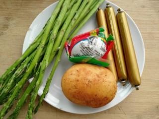 咸蛋芦笋火腿焗土豆,准备材料