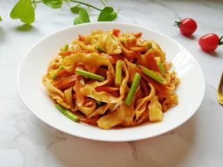 蔬菜火腿炒刀削面,简单又好吃的炒面。