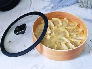 葱香鲜肉蒸饺,蒸出来的饺子特别好吃。