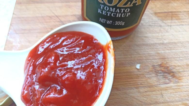 番茄龙利鱼,取一汤勺番茄酱