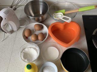 棉花蛋糕,材料备好,烤箱预热150度