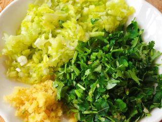 酥炸萝卜丝丸,葱、姜、香菜切好备用