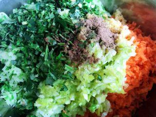 酥炸萝卜丝丸,胡萝卜、萝卜、葱、姜、香菜放入容器中再放入五香粉、油、盐、味精