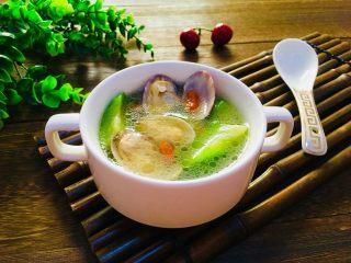 丝瓜花蛤汤,成品图