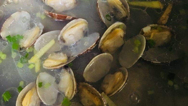 丝瓜花蛤汤,煮至花蛤开口