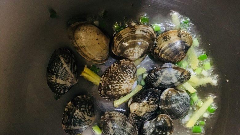 丝瓜花蛤汤,放入花蛤炒一会
