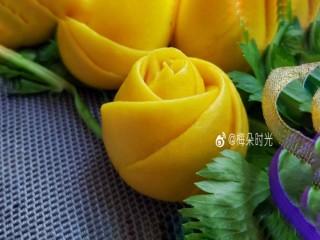 南瓜玫瑰花馒头,成品。