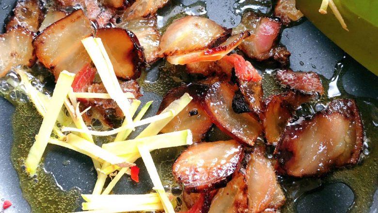 杏鲍菇炒腊肉,炒到肥肉部分变透明加姜丝炒香