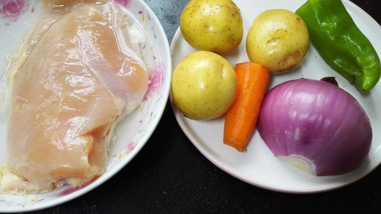咖喱土豆鸡丁,准备好所有的原材料