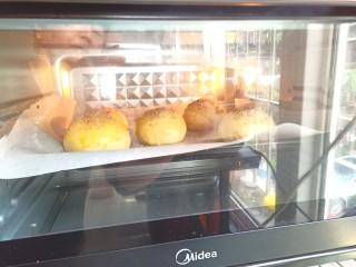 汉堡胚,入烤箱,烤20分钟