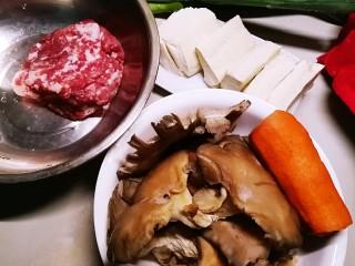 野菜豆腐包子,其它食材准备好