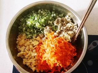 野菜豆腐包子,葱切碎 胡萝卜擦丝  煎好的豆腐丁  切碎的蘑菇丁 一同放入搅拌好的肉糜上