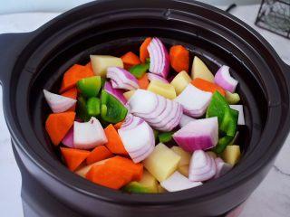 三汁焖锅,锅中倒入适量的食用油烧热,放入土豆、胡萝卜、洋葱、青椒