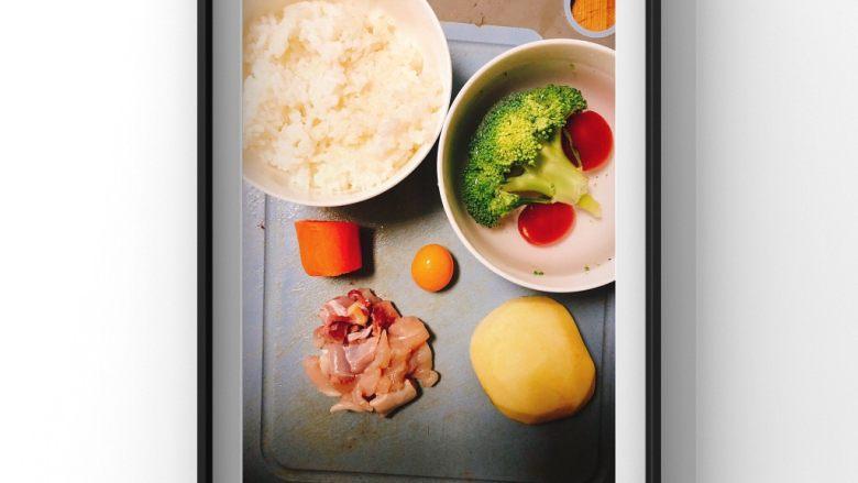 蔬菜鸡腿饭,1个鸡腿去骨切成小块,西兰花8g,苹果半个,胡萝卜5g,鸡蛋黄1个,米饭一小碗,小番茄2颗!