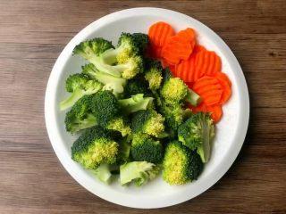 照烧鸡腿饭,西兰花切成小朵,用盐水浸泡一会,清洗干净待用,胡萝卜削掉外皮,清洗干净切片待用。