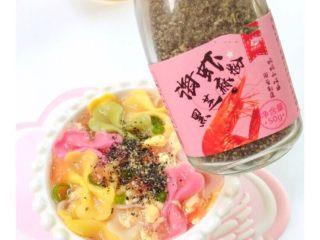 番茄鸡蛋蝴蝶面,出锅后倒入海虾🦐粉,补钙