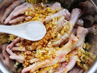 史上最简单的懒人电饭煲鸡爪,1勺盐。