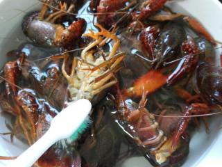 蒜泥小龙虾,用牙刷将其每个部位都刷洗一遍