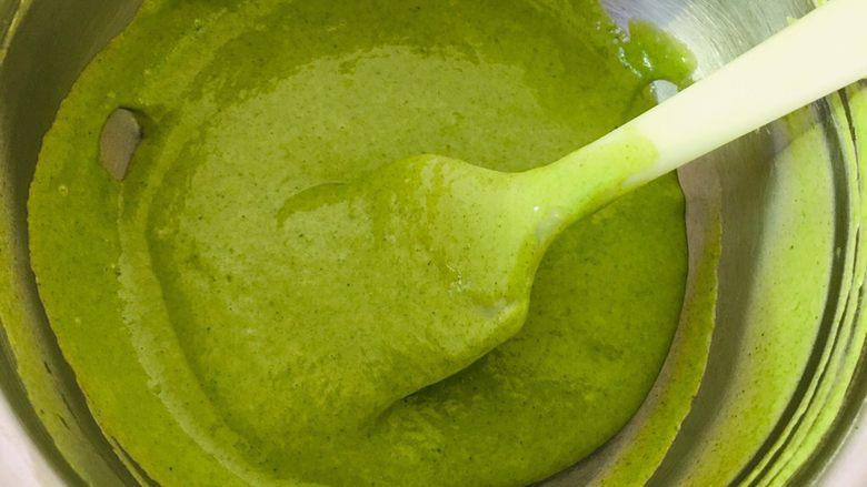 菠菜戚风蛋糕,继续搅拌成细腻状态。