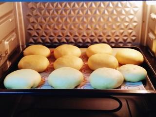 蜜豆喜饼~香甜松软,放入烤箱中层37°二次发酵20分钟。