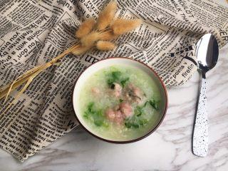 生菜丝肉丸粥,完成