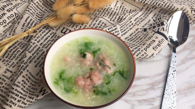 生菜丝肉丸粥