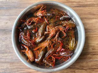 麻辣小龙虾,首先把小龙虾冲洗几次,放入盆里,加入适量水,再加入一大勺盐浸泡30分钟。