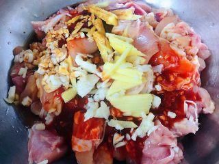 叉烧鸡腿串,姜、蒜、料酒、蚝油、一同放入容器中