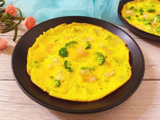 虾仁蔬菜煎蛋饼